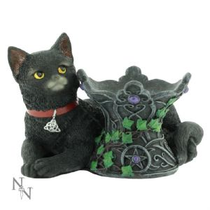"Animal~ Resin Figurine Cat ""Cosmo"" Black Cat Home and Altar Decoration~ By Folio Gothic Hippy B1809E5"